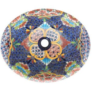 Alcala Denim Mexican Bathroom Ceramic Oval Talavera Sink