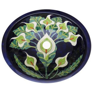 Alcatraz Mexican Bathroom Ceramic Oval Talavera Sink