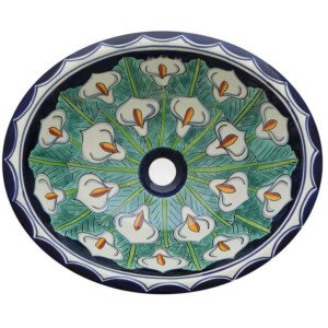 Full Alcatraz Mexican Bathroom Ceramic Oval Talavera Sink