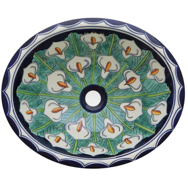 Full Alcatraz Mexican Bathroom Ceramic Oval Talavera Sink