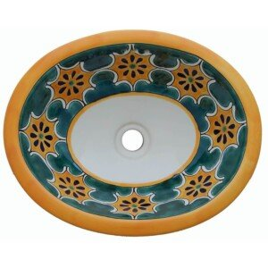 Arabesque Green Mexican Bathroom Ceramic Oval Talavera Sink
