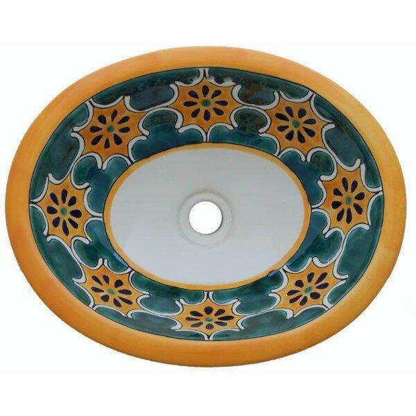 Arabesque Green Mexican Bathroom Ceramic Oval Talavera Sink