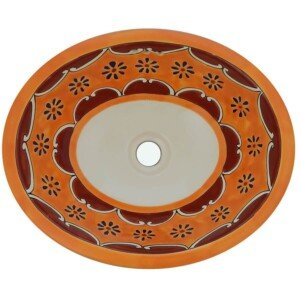 Arabesque Yellow Mexican Bathroom Ceramic Oval Talavera Sink