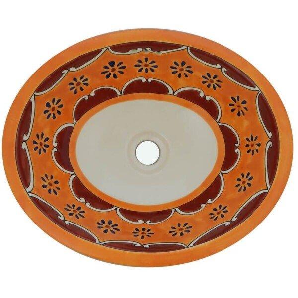 Arabesque Yellow Mexican Bathroom Ceramic Oval Talavera Sink