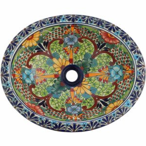 Aralia Mexican Bathroom Ceramic Oval Talavera Sink