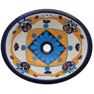 Arely Mexican Bathroom Ceramic Oval Talavera Sink