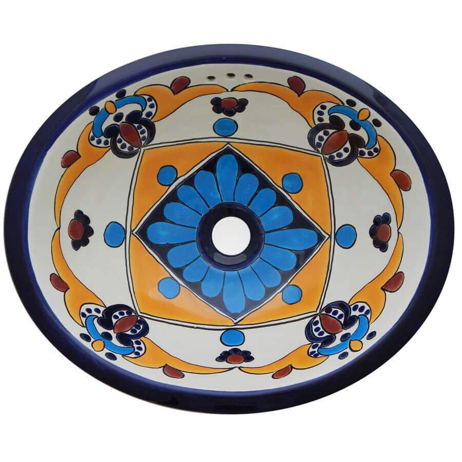 Arely Mexican Bathroom Ceramic Oval Talavera Sink