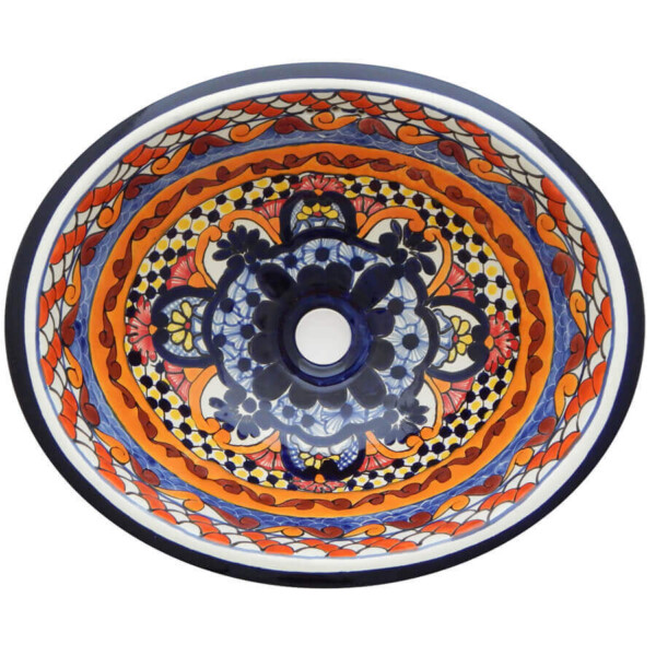 Ayala Mexican Bathroom Ceramic Oval Talavera Sink