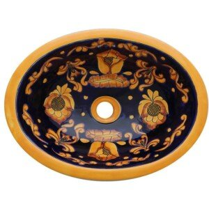 Belen Bathroom Ceramic Oval Talavera Sink