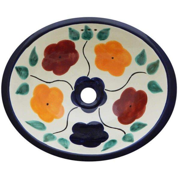 Bouquet Bathroom Ceramic Oval Talavera Sink
