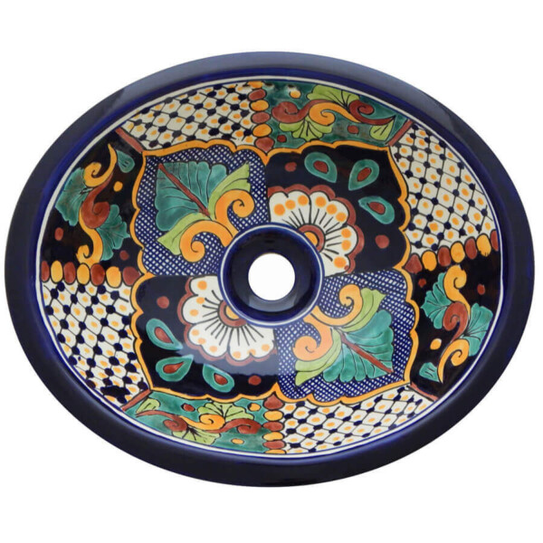 Cajun Bathroom Ceramic Oval Talavera Sink
