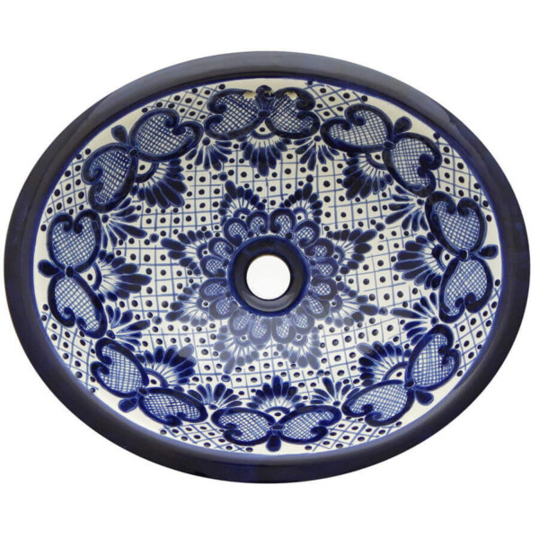 Campanilla Bathroom Ceramic Oval Talavera Sink