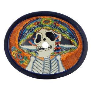 Catrina Sugar School Bathroom Ceramic Oval Talavera Sink