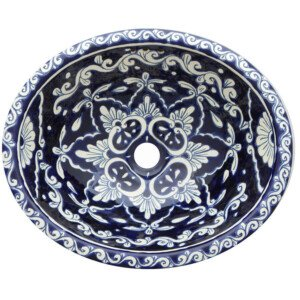Celeste Bathroom Ceramic Oval Talavera Sink