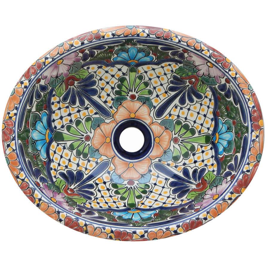 Cholula Bathroom Ceramic Oval Talavera Sink