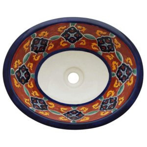 Dolores Bathroom Ceramic Oval Talavera Sink
