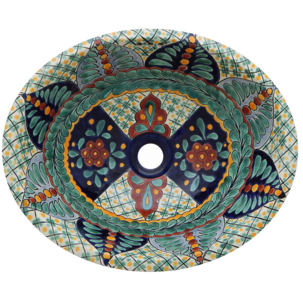 Esmeralda Bathroom Ceramic Oval Talavera SinkEsmeralda Bathroom Ceramic Oval Talavera Sink