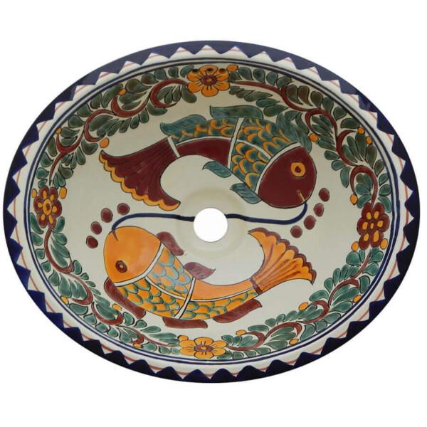 Fish Acapulco Bathroom Ceramic Oval Talavera Sink