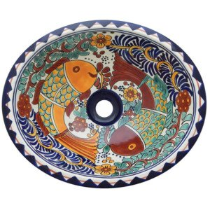Fish Conzumel Bathroom Ceramic Oval Talavera Sink