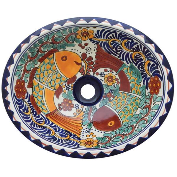 Fish Conzumel Bathroom Ceramic Oval Talavera Sink