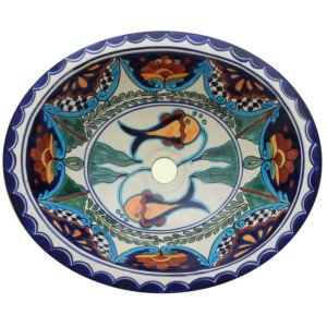 Fish Huatulco Bathroom Ceramic Oval Talavera Sink