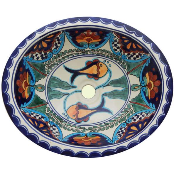 Fish Huatulco Bathroom Ceramic Oval Talavera Sink