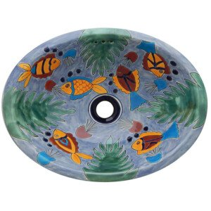 Fish Ixtapa Bathroom Ceramic Oval Talavera Sink