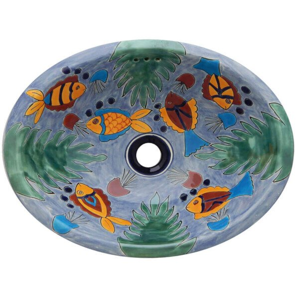 Fish Ixtapa Bathroom Ceramic Oval Talavera Sink