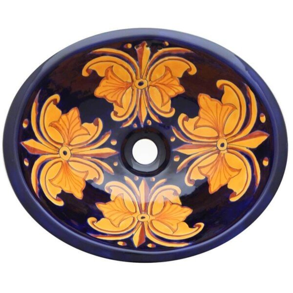 Flor Nacional Bathroom Ceramic Oval Talavera Sink