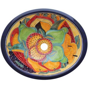 Fruits Bathroom Ceramic Oval Talavera Sink