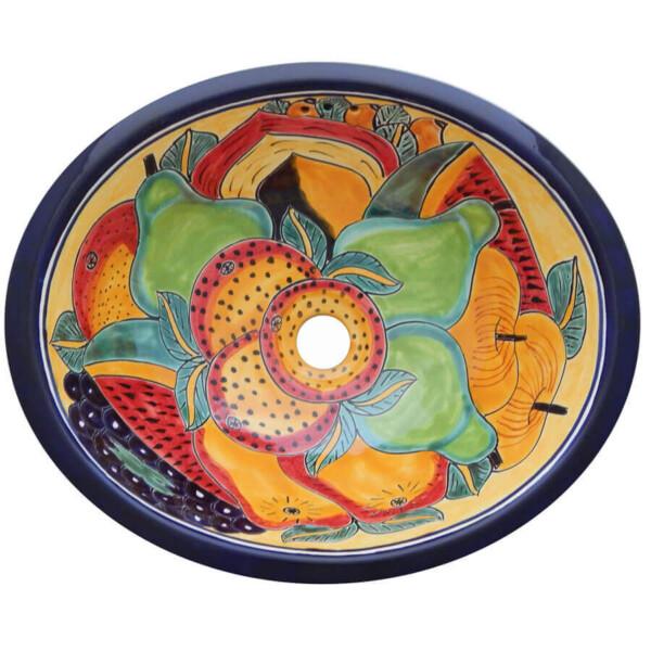 Fruits Bathroom Ceramic Oval Talavera Sink
