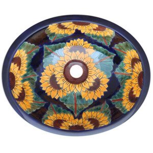 Girasol Blue Rey Bathroom Ceramic Oval Talavera Sink