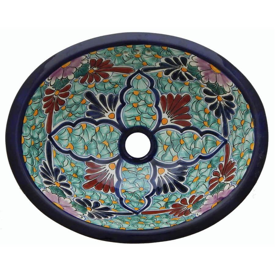 Jardin Bathroom Ceramic Oval Talavera Sink
