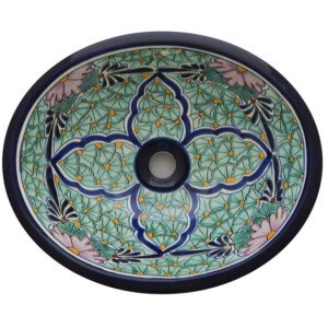 Jardin Green Bathroom Ceramic Oval Talavera Sink