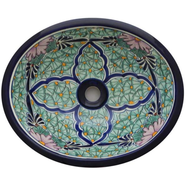 Jardin Green Bathroom Ceramic Oval Talavera Sink