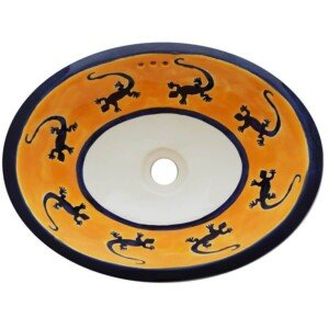 Lagartijas Bathroom Ceramic Oval Talavera Sink