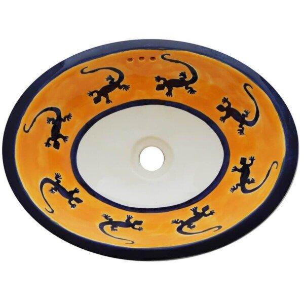 Lagartijas Bathroom Ceramic Oval Talavera Sink