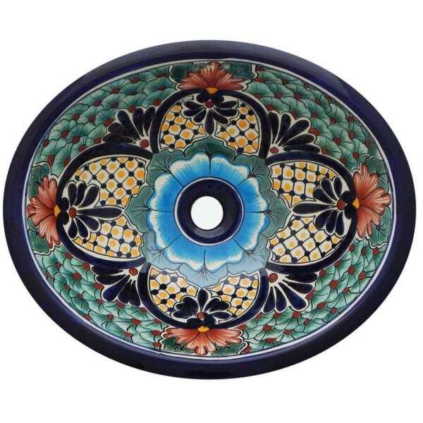 Laredo Bathroom Ceramic Oval Talavera Sink