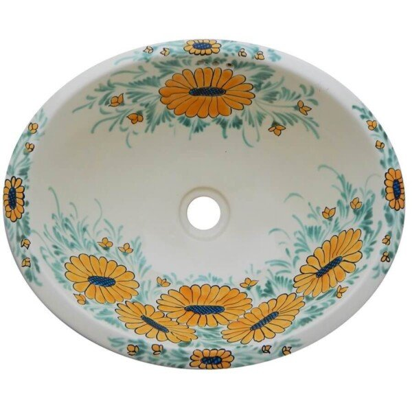 Margaritas Bathroom Ceramic Oval Talavera Sink