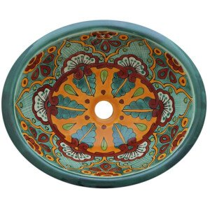 Mazatlan Green Bathroom Ceramic Oval Talavera Sink