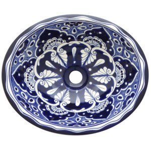 Mazatlan Blue Bathroom Ceramic Oval Talavera Sink