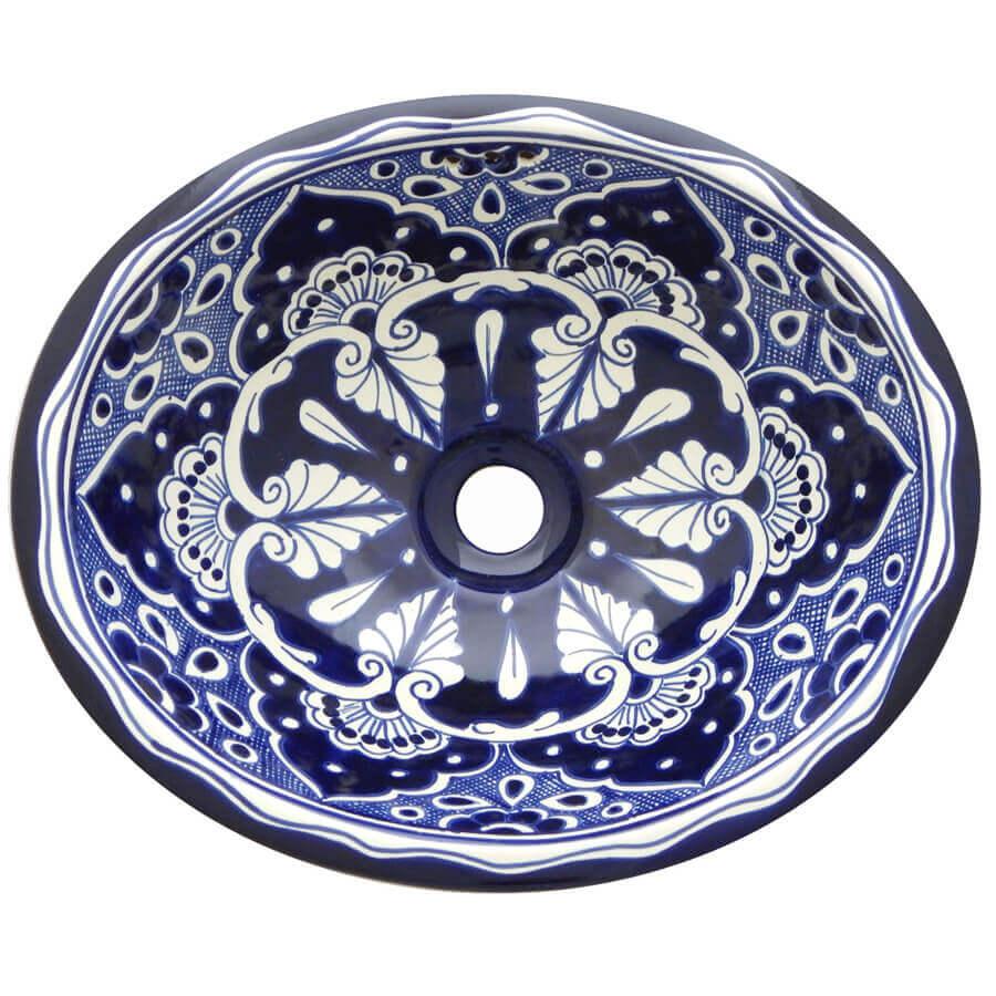 Mazatlan Blue Bathroom Ceramic Oval Talavera Sink