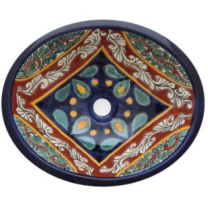Morelia Bathroom Ceramic Oval Talavera Sink