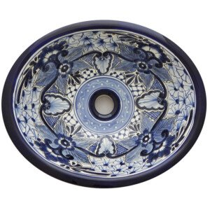 Nayarit Bathroom Ceramic Oval Talavera Sink