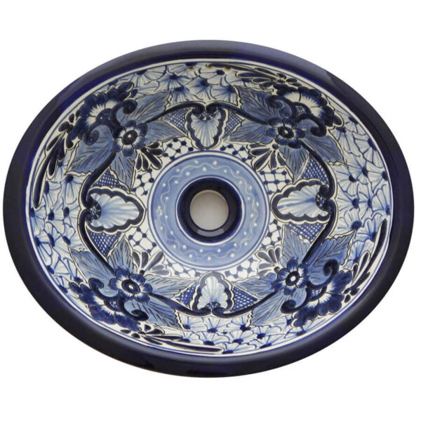 Nayarit Bathroom Ceramic Oval Talavera Sink