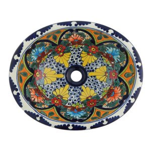 Orizaba Bathroom Ceramic Oval Talavera Sink