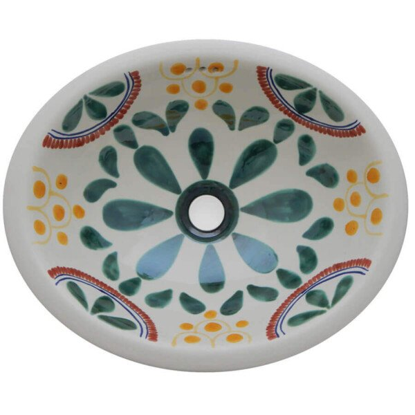 Pambelo Bathroom Ceramic Oval Talavera Sink