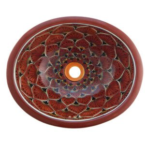 Pavo Terracota Bathroom Ceramic Oval Talavera Sink