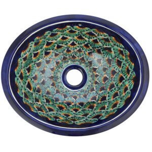 Pavo Blue & Green Bathroom Ceramic Oval Talavera Sink