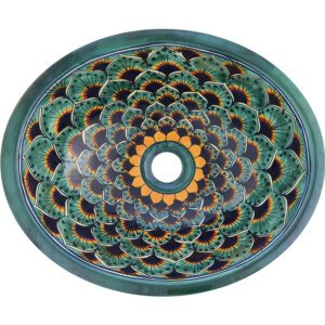 Pavo Green Bathroom Ceramic Oval Talavera Sink